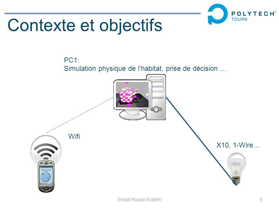 Contexte et objectifs 7Smart House System Wifi Ethernet X10, 1-Wire… PC1: Simulation physique de lhabitat … PC2: Prise de décision …
