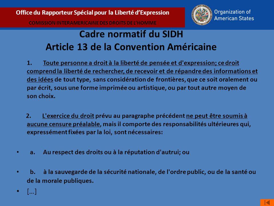 Cadre normatif du SIDH Article 13 de la Convention Américaine 1.
