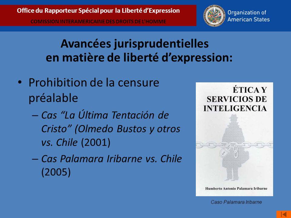 Prohibition de la censure préalable – Cas La Última Tentación de Cristo (Olmedo Bustos y otros vs.