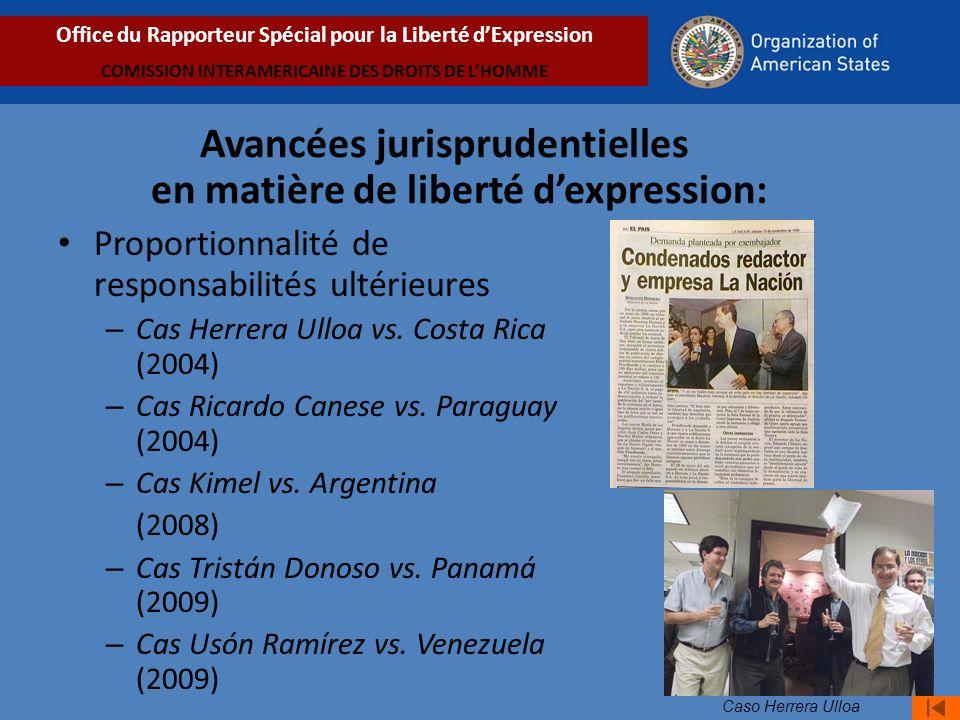 Proportionnalité de responsabilités ultérieures – Cas Herrera Ulloa vs.