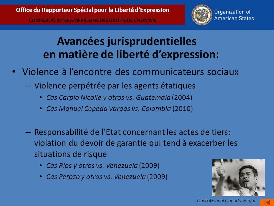 Violence à lencontre des communicateurs sociaux – Violence perpétrée par les agents étatiques Cas Carpio Nicolle y otros vs.