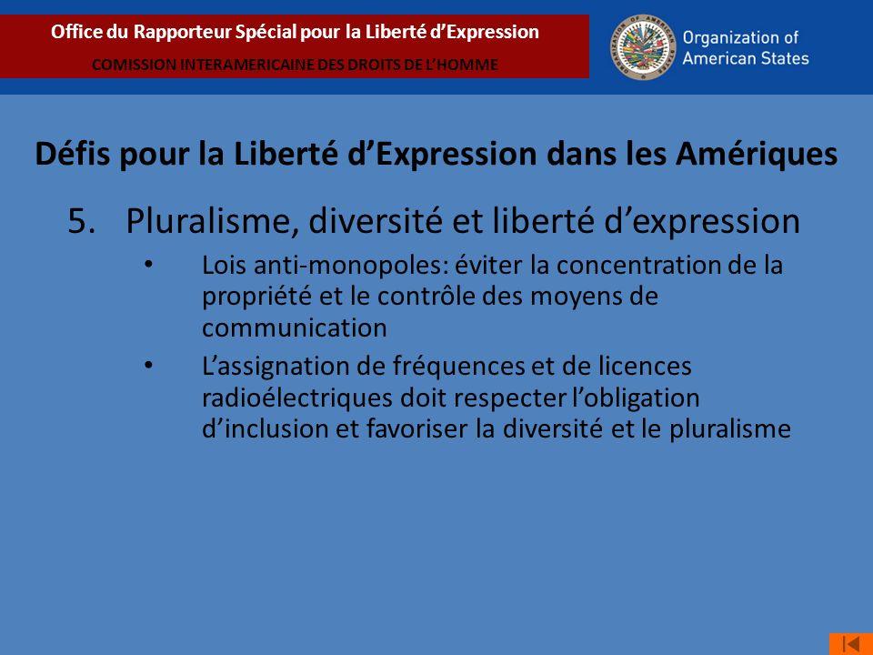 5. Pluralisme, diversité et liberté dexpression Lois anti-monopoles: éviter la concentration de la propriété et le contrôle des moyens de communicatio