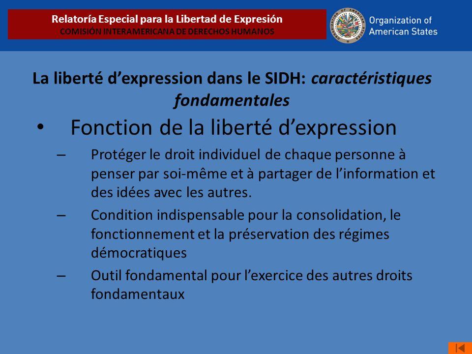 Fonction de la liberté dexpression – Protéger le droit individuel de chaque personne à penser par soi-même et à partager de linformation et des idées avec les autres.