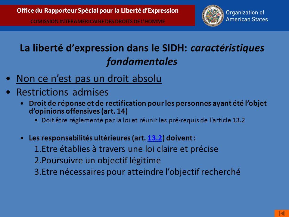 Non ce nest pas un droit absolu Restrictions admises Droit de réponse et de rectification pour les personnes ayant été lobjet dopinions offensives (art.