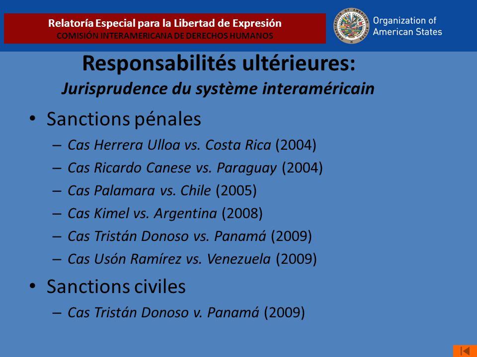 Responsabilités ultérieures: Jurisprudence du système interaméricain Sanctions pénales – Cas Herrera Ulloa vs.