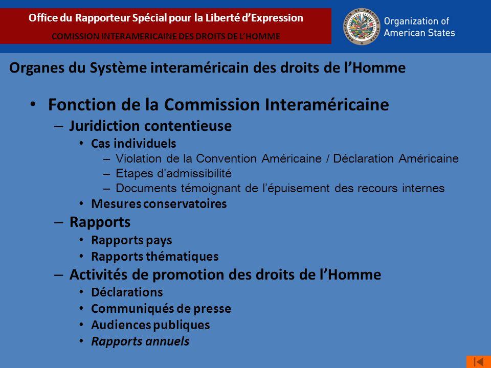 Avancées jurisprudentielles en matière de liberté dexpression: Thèmes développés par la jurisprudence du SIDH Office du Rapporteur Spécial pour la Liberté dExpression COMISSION INTERAMERICAINE DES DROITS DE LHOMME