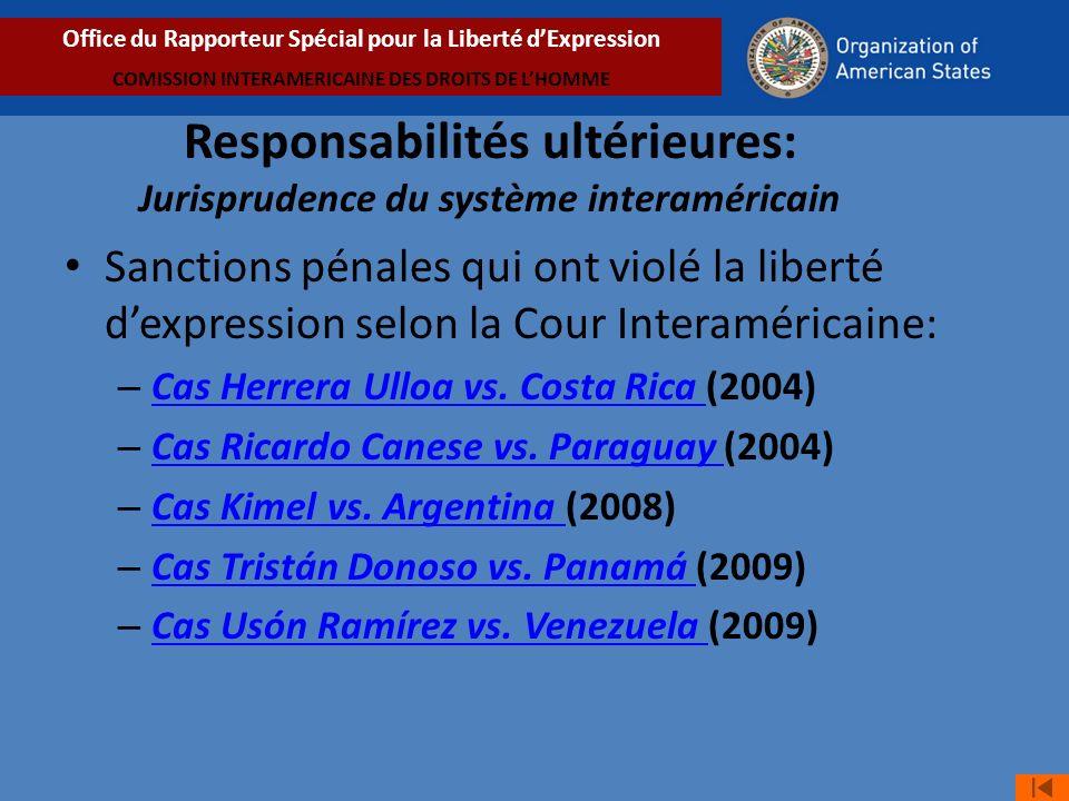 Sanctions pénales qui ont violé la liberté dexpression selon la Cour Interaméricaine: – Cas Herrera Ulloa vs.