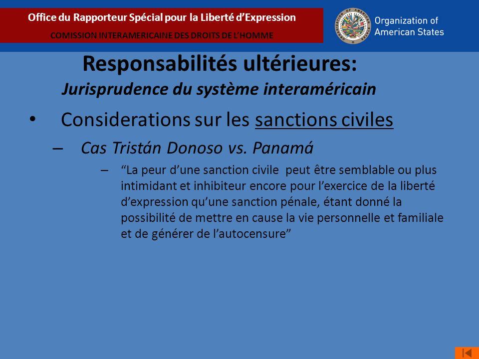 Considerations sur les sanctions civiles – Cas Tristán Donoso vs.