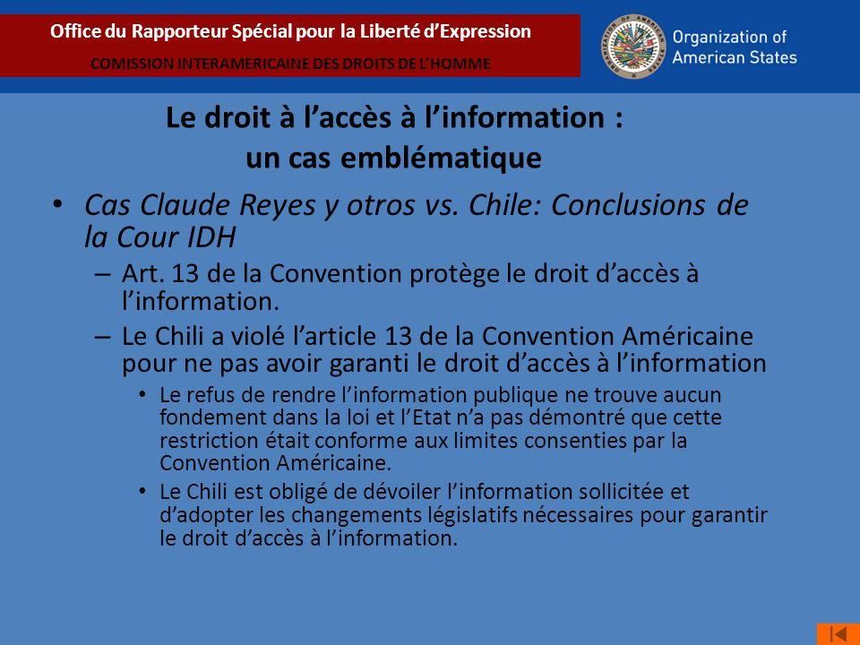 Cas Claude Reyes y otros vs.Chile: Conclusions de la Cour IDH – Art.