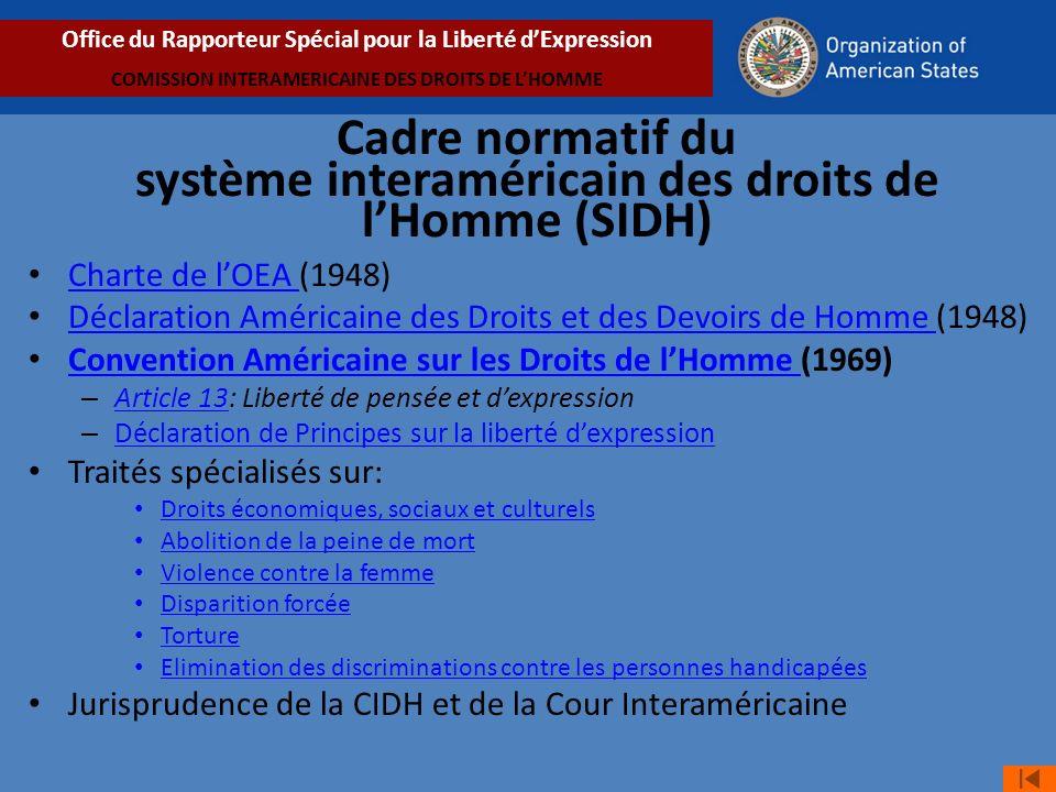 Cadre normatif du système interaméricain des droits de lHomme (SIDH) Charte de lOEA (1948) Charte de lOEA Déclaration Américaine des Droits et des Devoirs de Homme (1948) Déclaration Américaine des Droits et des Devoirs de Homme Convention Américaine sur les Droits de lHomme (1969) Convention Américaine sur les Droits de lHomme – Article 13: Liberté de pensée et dexpression Article 13 – Déclaration de Principes sur la liberté dexpression Déclaration de Principes sur la liberté dexpression Traités spécialisés sur: Droits économiques, sociaux et culturels Abolition de la peine de mort Violence contre la femme Disparition forcée Torture Elimination des discriminations contre les personnes handicapées Jurisprudence de la CIDH et de la Cour Interaméricaine Office du Rapporteur Spécial pour la Liberté dExpression COMISSION INTERAMERICAINE DES DROITS DE LHOMME