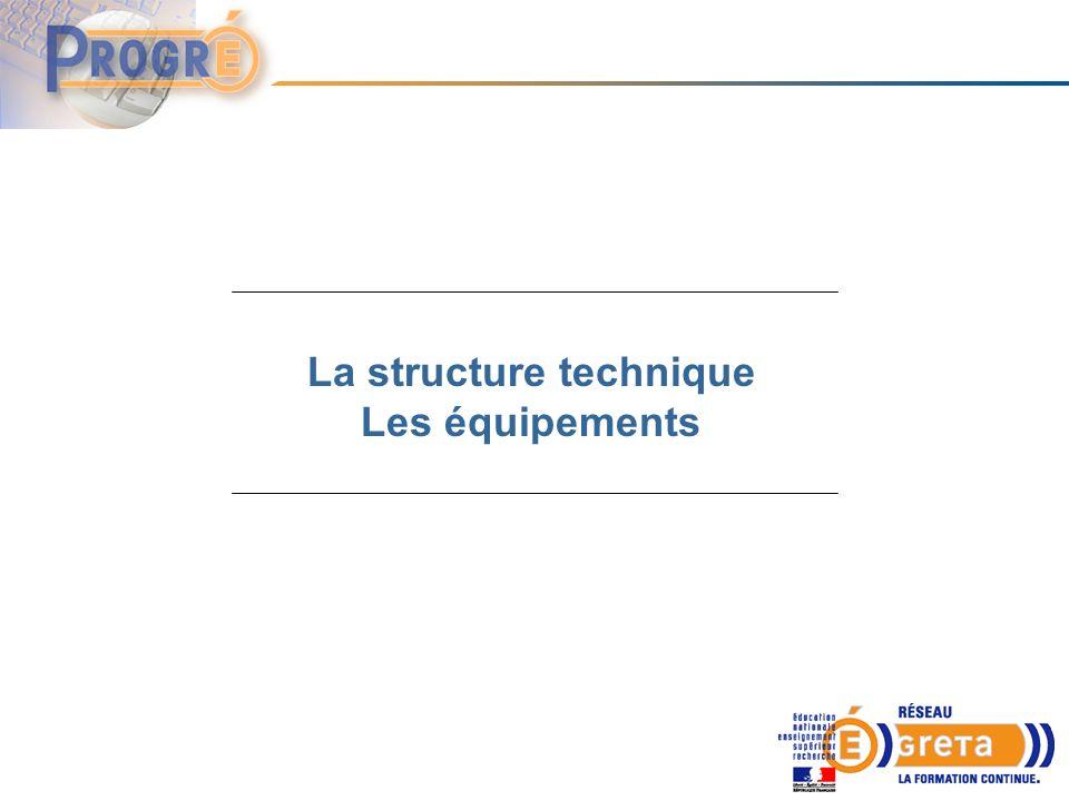 La structure technique Les équipements