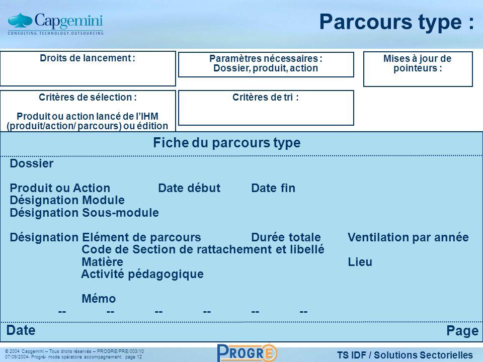 TS IDF / Solutions Sectorielles © 2004 Capgemini – Tous droits réservés – PROGRE/PRE/003/10 07/09/2004- Progré- mode opératoire accompagnement, page 1