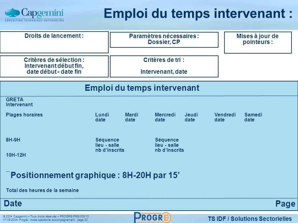 TS IDF / Solutions Sectorielles © 2004 Capgemini – Tous droits réservés – PROGRE/PRE/003/10 07/09/2004- Progré- mode opératoire accompagnement, page 3