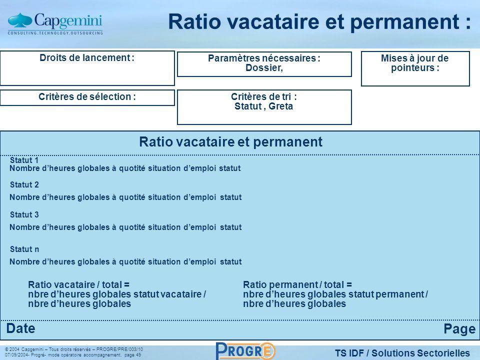 TS IDF / Solutions Sectorielles © 2004 Capgemini – Tous droits réservés – PROGRE/PRE/003/10 07/09/2004- Progré- mode opératoire accompagnement, page 4