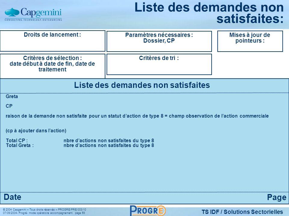 TS IDF / Solutions Sectorielles © 2004 Capgemini – Tous droits réservés – PROGRE/PRE/003/10 07/09/2004- Progré- mode opératoire accompagnement, page 5