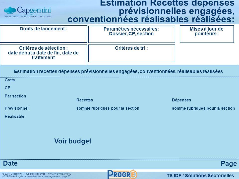 TS IDF / Solutions Sectorielles © 2004 Capgemini – Tous droits réservés – PROGRE/PRE/003/10 07/09/2004- Progré- mode opératoire accompagnement, page 6