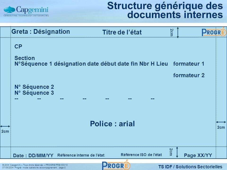TS IDF / Solutions Sectorielles © 2004 Capgemini – Tous droits réservés – PROGRE/PRE/003/10 07/09/2004- Progré- mode opératoire accompagnement, page 8 Structure générique des documents internes Titre de létat Page XX/YY Date : DD/MM/YY CP Section N°Séquence 1 désignation date début date fin Nbr H Lieuformateur 1 formateur 2 N° Séquence 2 N° Séquence 3 -------------- Greta : Désignation Référence interne de létat 2cm Police : arial Référence ISO de létat