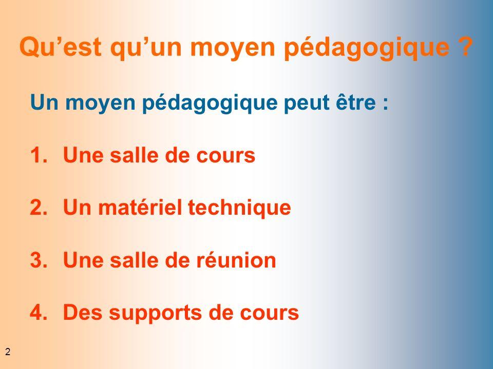 2 Quest quun moyen pédagogique ? Un moyen pédagogique peut être : 1.Une salle de cours 2.Un matériel technique 3.Une salle de réunion 4.Des supports d