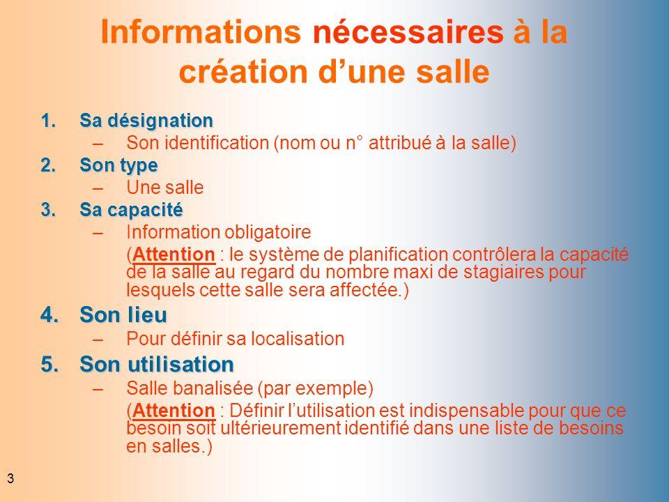 3 Informations nécessaires à la création dune salle 1.Sa désignation –Son identification (nom ou n° attribué à la salle) 2.Son type –Une salle 3.Sa ca