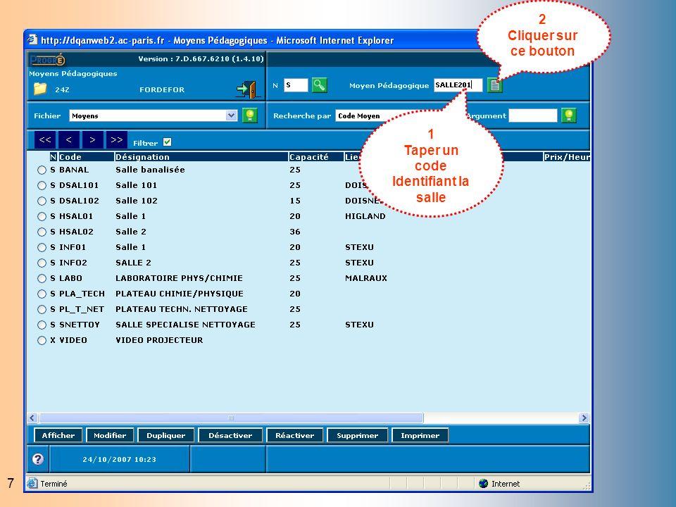 7 1 Taper un code Identifiant la salle 2 Cliquer sur ce bouton