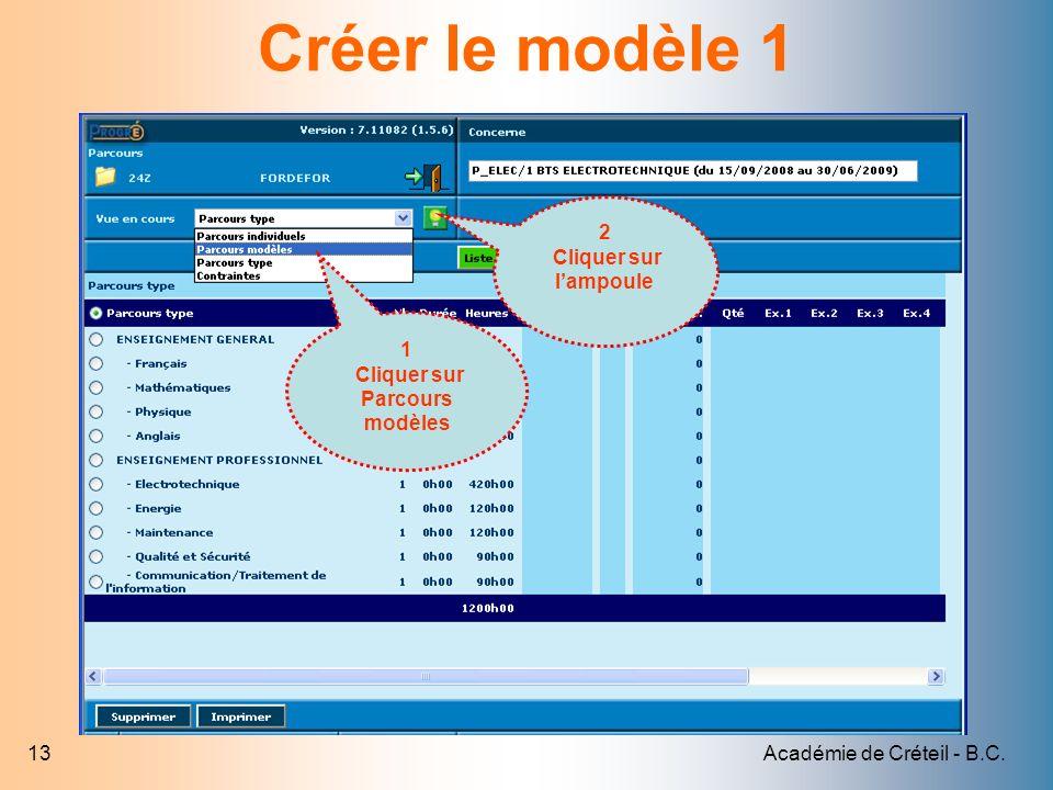 Académie de Créteil - B.C.13 Créer le modèle 1 1 Cliquer sur Parcours modèles 2 Cliquer sur lampoule