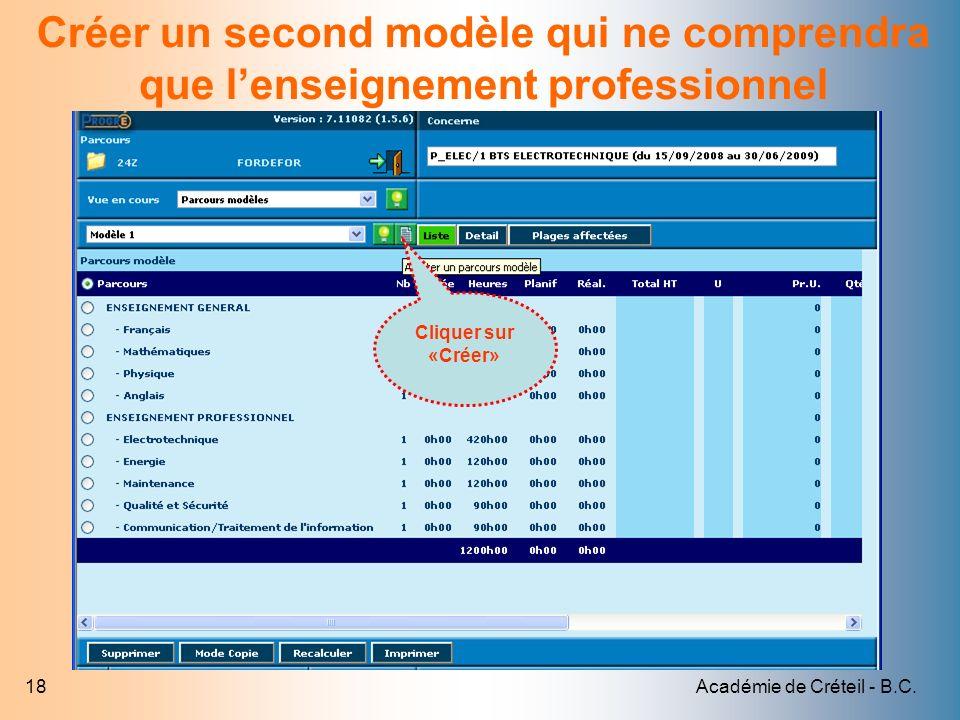 Académie de Créteil - B.C.18 Créer un second modèle qui ne comprendra que lenseignement professionnel Cliquer sur «Créer»