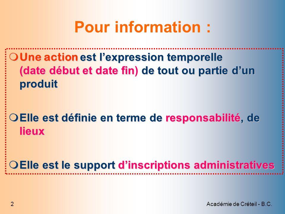 Académie de Créteil - B.C.23 Tarifer les parcours modèle 1 Sélectionner le 1 er élément de parcours 2 Cliquer sur Détail