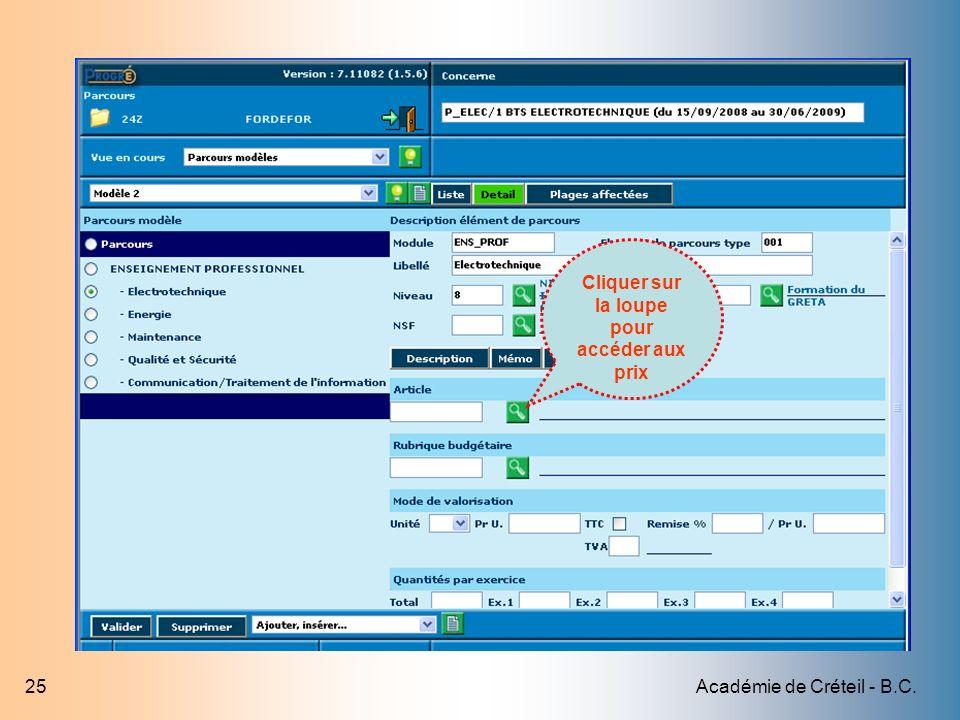 Académie de Créteil - B.C.25 Cliquer sur la loupe pour accéder aux prix