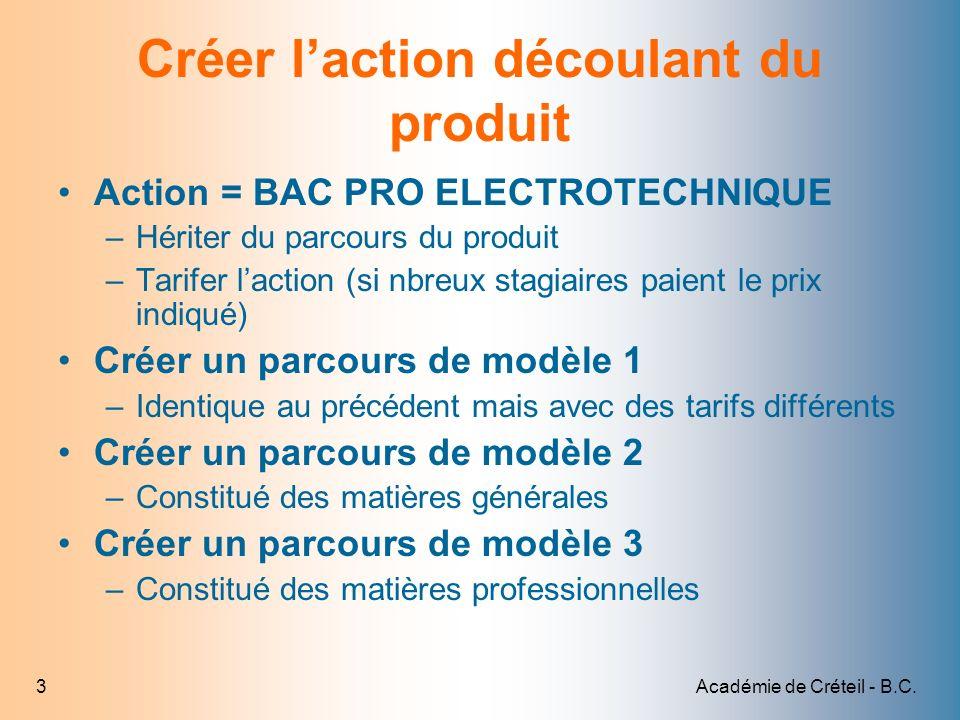 Académie de Créteil - B.C.4 1 Cliquer sur Gestion Pédagogique 2 Cliquer sur Actions