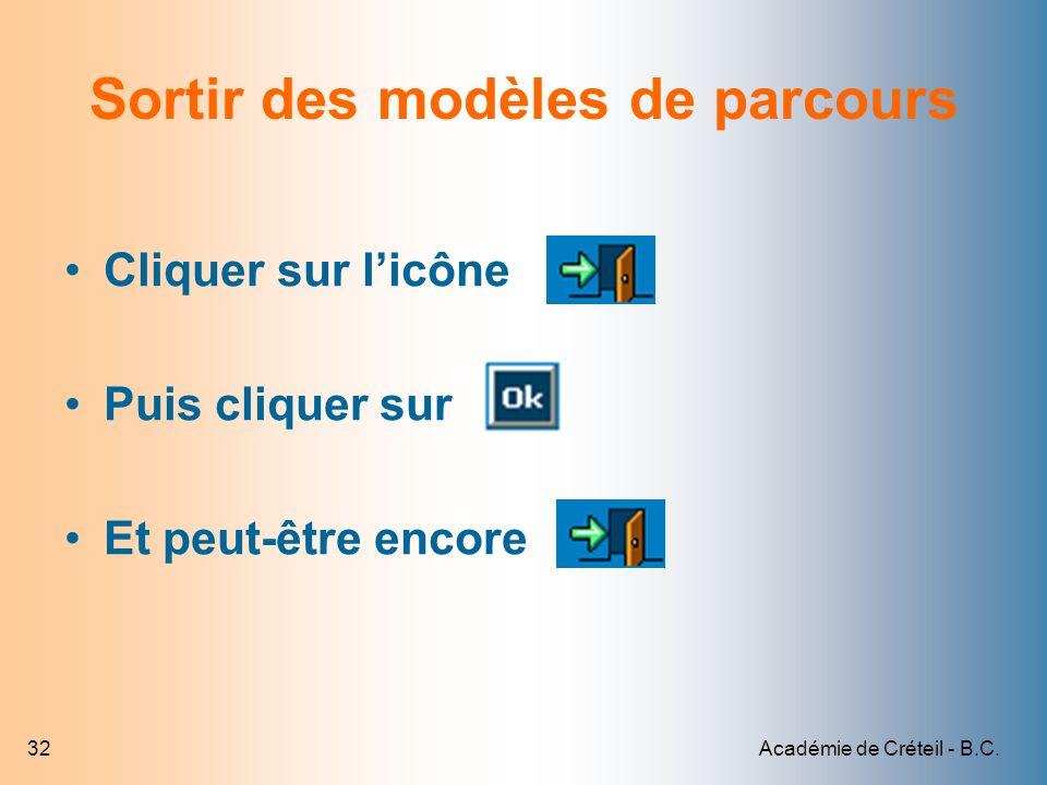 Académie de Créteil - B.C.32 Sortir des modèles de parcours Cliquer sur licône Puis cliquer sur Et peut-être encore