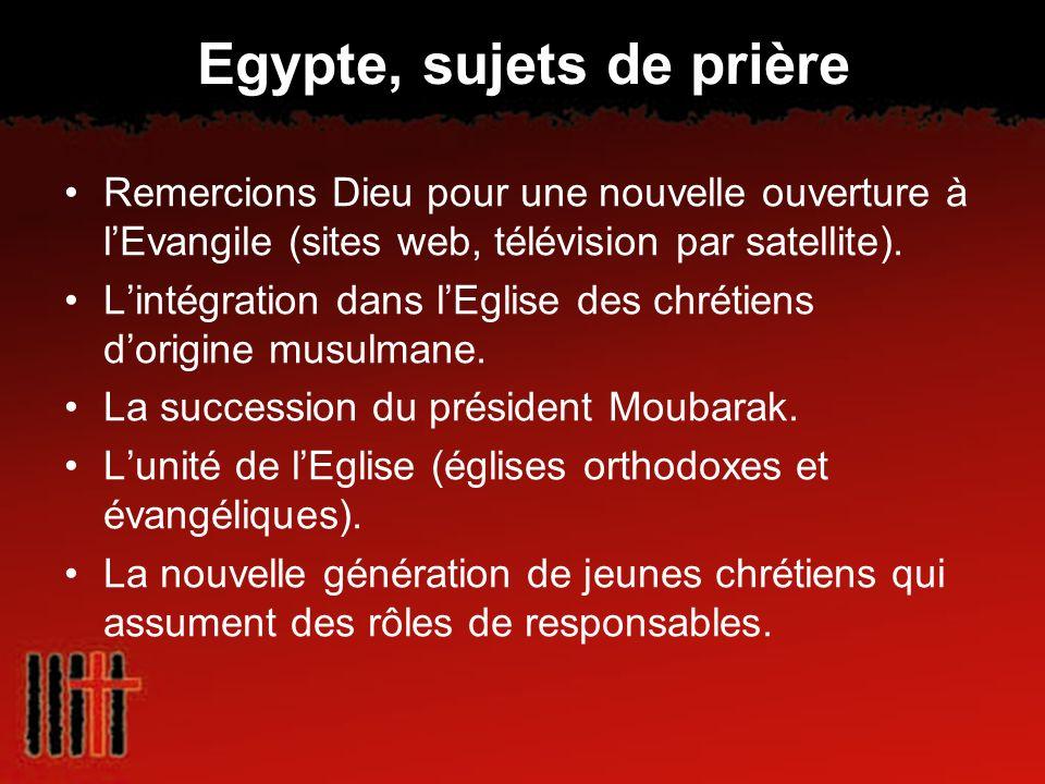 Egypte, sujets de prière Remercions Dieu pour une nouvelle ouverture à lEvangile (sites web, télévision par satellite). Lintégration dans lEglise des