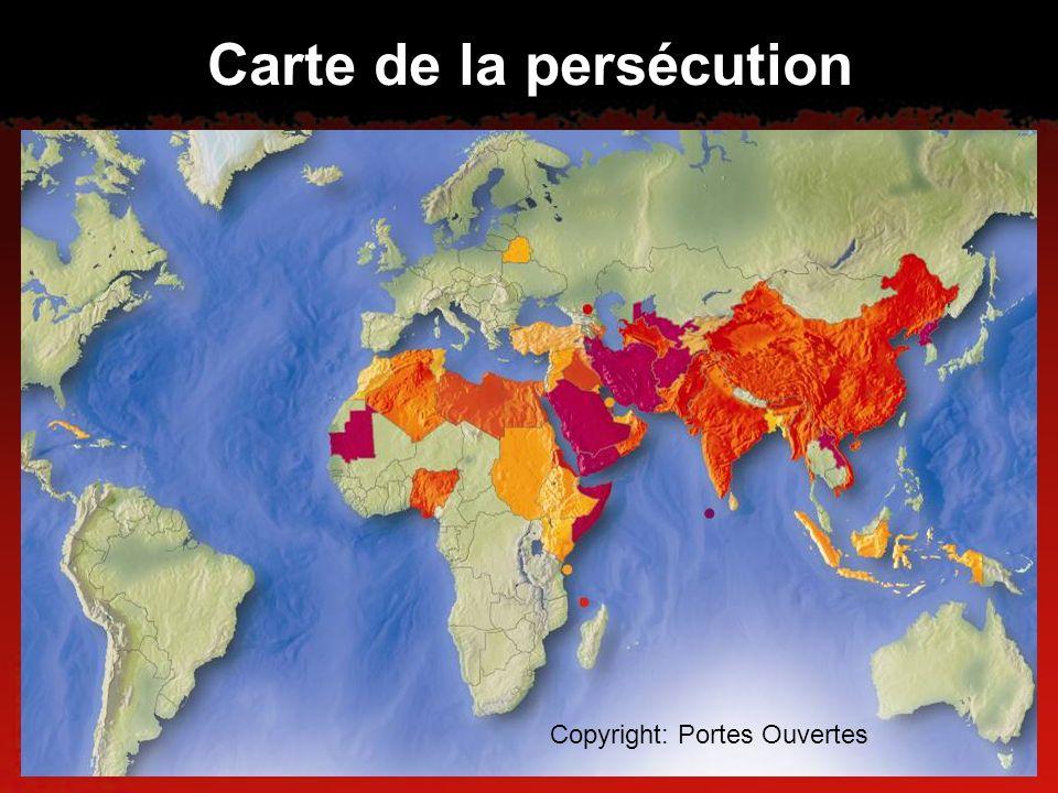 Carte de la persécution Copyright: Portes Ouvertes