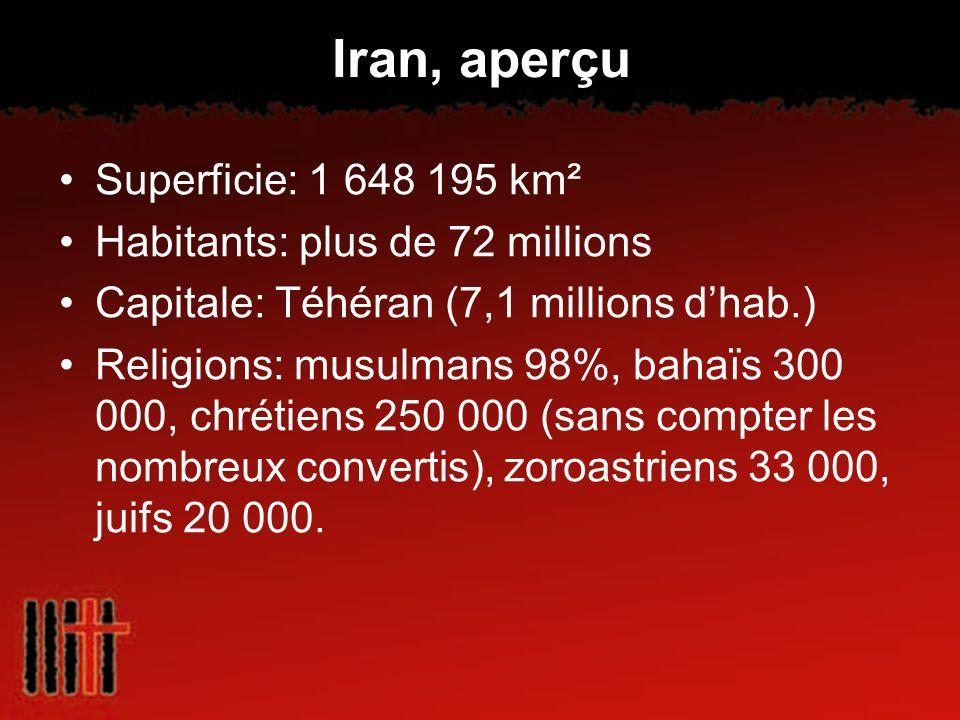 Iran, aperçu Superficie: 1 648 195 km² Habitants: plus de 72 millions Capitale: Téhéran (7,1 millions dhab.) Religions: musulmans 98%, bahaïs 300 000,