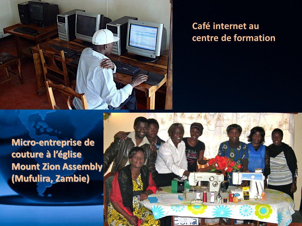 Café internet au centre de formation Micro-entreprise de couture à léglise Mount Zion Assembly (Mufulira, Zambie)
