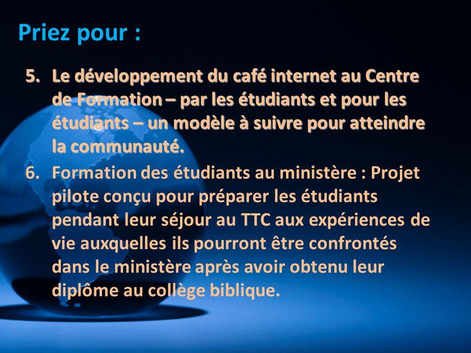 5.Le développement du café internet au Centre de Formation – par les étudiants et pour les étudiants – un modèle à suivre pour atteindre la communauté