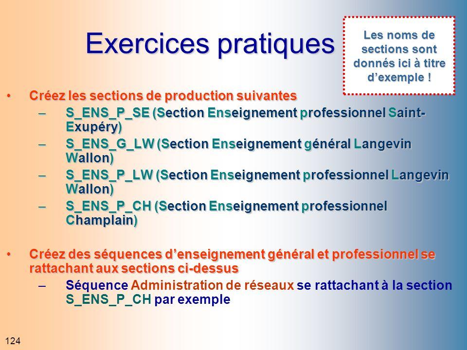 124 Exercices pratiques Créez les sections de production suivantesCréez les sections de production suivantes –S_ENS_P_SE (Section Enseignement profess