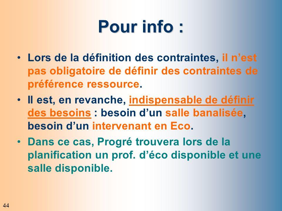 44 Pour info : Lors de la définition des contraintes, il nest pas obligatoire de définir des contraintes de préférence ressource. Il est, en revanche,