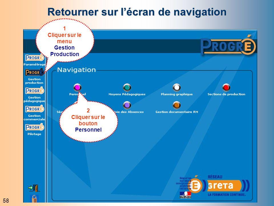 58 Retourner sur lécran de navigation 1 Cliquer sur le menu Gestion Production 2 Cliquer sur le bouton Personnel