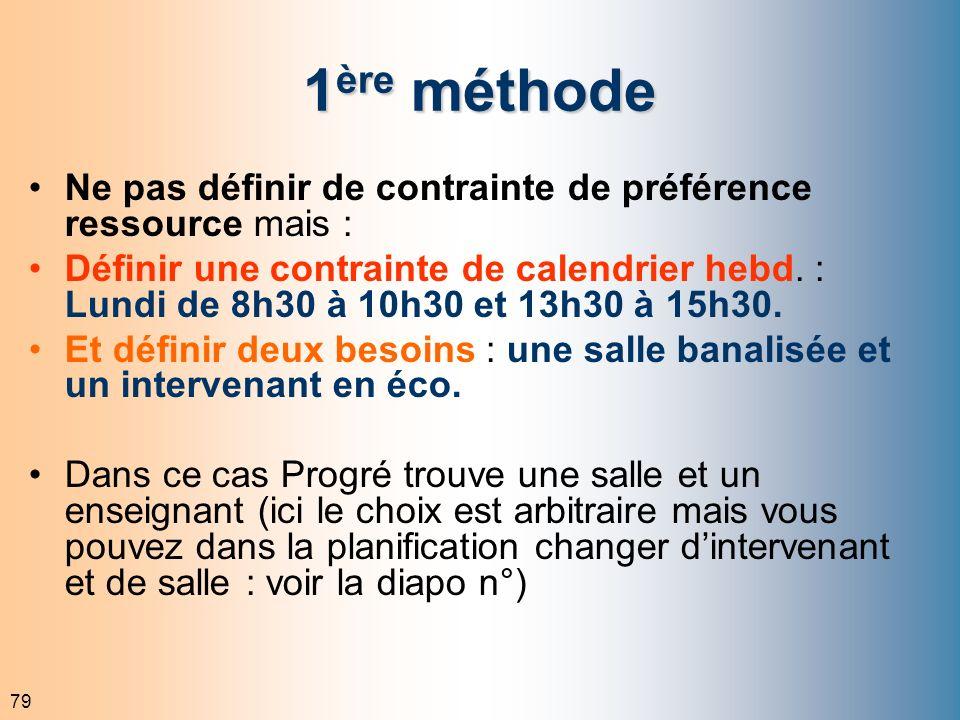79 1 ère méthode Ne pas définir de contrainte de préférence ressource mais : Définir une contrainte de calendrier hebd. : Lundi de 8h30 à 10h30 et 13h