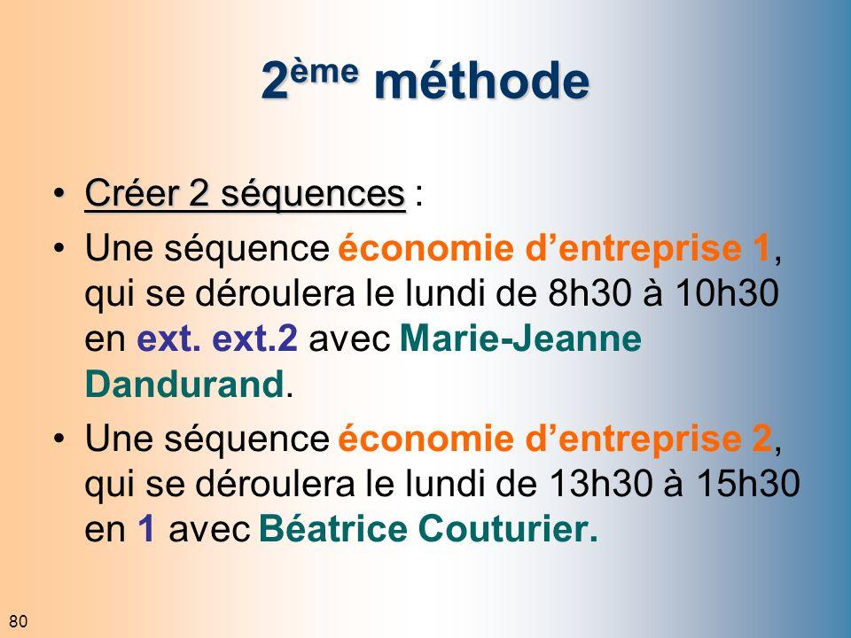 80 2 ème méthode Créer 2 séquencesCréer 2 séquences : Une séquence économie dentreprise 1, qui se déroulera le lundi de 8h30 à 10h30 en ext. ext.2 ave