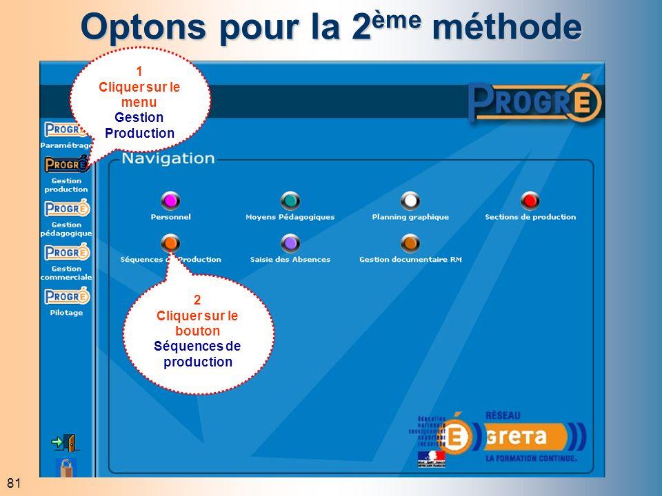 81 Optons pour la 2 ème méthode 1 Cliquer sur le menu Gestion Production 2 Cliquer sur le bouton Séquences de production