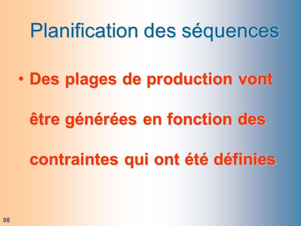 98 Planification des séquences Des plages de production vont être générées en fonction des contraintes qui ont été définiesDes plages de production vo