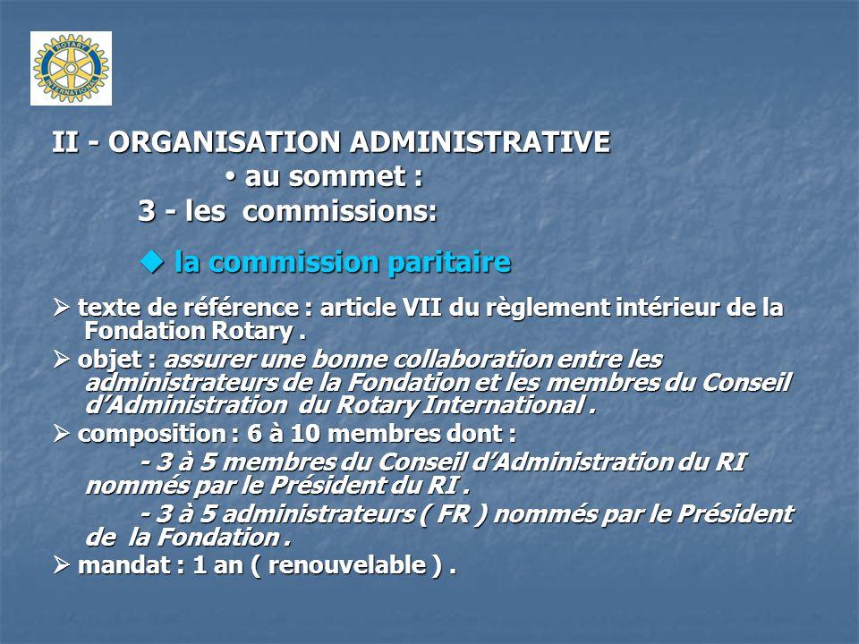 II - ORGANISATION ADMINISTRATIVE au sommet : au sommet : 3 - les commissions: la commission paritaire la commission paritaire texte de référence : art