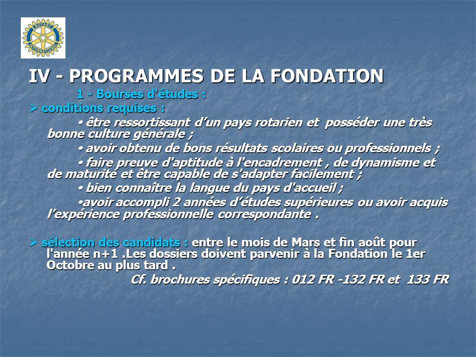 IV - PROGRAMMES DE LA FONDATION 1 - Bourses d'études : conditions requises : conditions requises : être ressortissant dun pays rotarien et posséder un