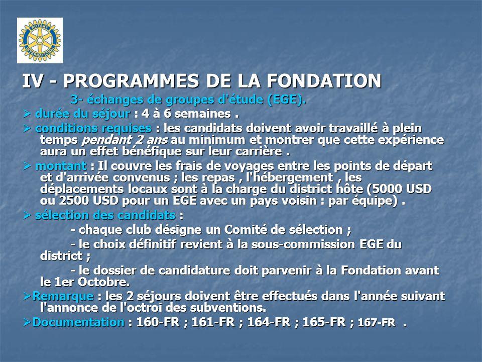 IV - PROGRAMMES DE LA FONDATION 3- échanges de groupes d'étude (EGE). durée du séjour : 4 à 6 semaines. durée du séjour : 4 à 6 semaines. conditions r