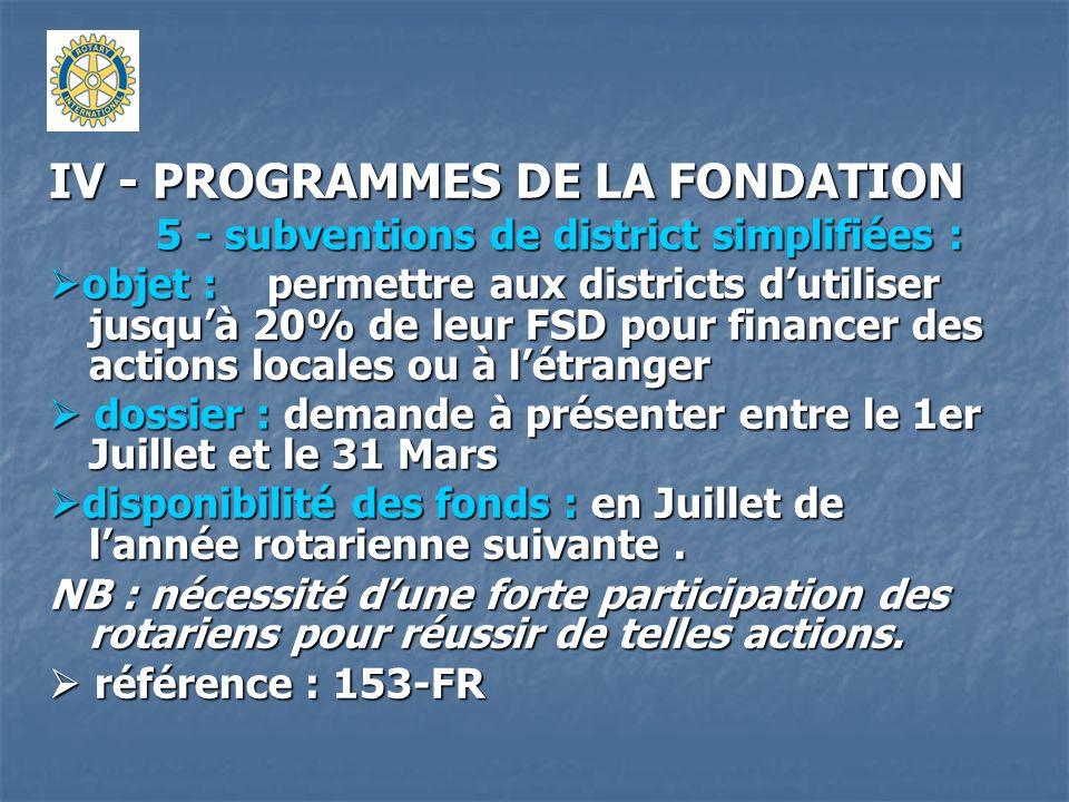 IV - PROGRAMMES DE LA FONDATION 5 - subventions de district simplifiées : objet : permettre aux districts dutiliser jusquà 20% de leur FSD pour financ