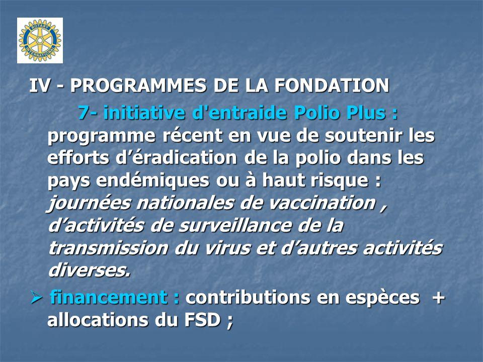 IV - PROGRAMMES DE LA FONDATION 7- initiative d'entraide Polio Plus : programme récent en vue de soutenir les efforts déradication de la polio dans le