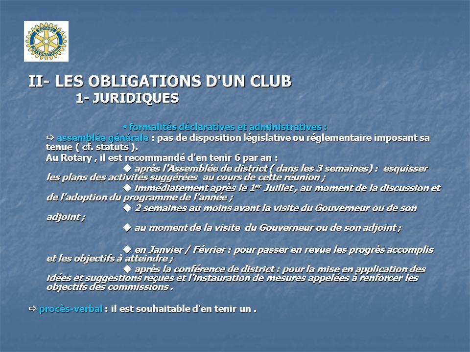 II- LES OBLIGATIONS D'UN CLUB 1- JURIDIQUES formalités déclaratives et administratives : formalités déclaratives et administratives : assemblée généra