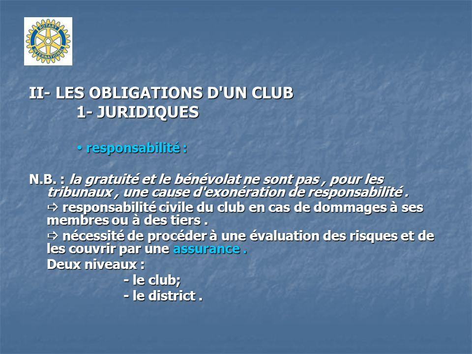 II- LES OBLIGATIONS D'UN CLUB 1- JURIDIQUES responsabilité : responsabilité : N.B. : la gratuité et le bénévolat ne sont pas, pour les tribunaux, une