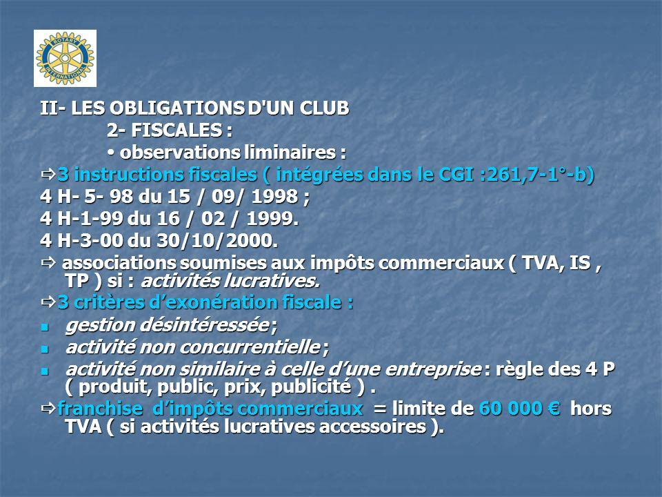 II- LES OBLIGATIONS D'UN CLUB 2- FISCALES : observations liminaires : observations liminaires : 3 instructions fiscales ( intégrées dans le CGI :261,7